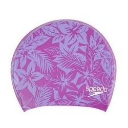 Speedo LONG HAIR CAP PRINTED C843 neon orchid/helium