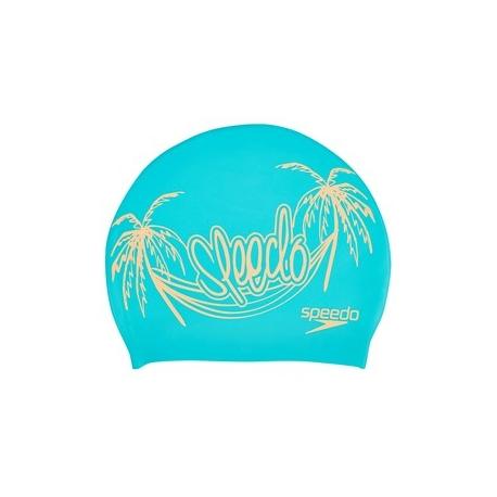 Speedo SLOGAN PRINT CAP C500 bali blue/papaya