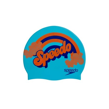 Speedo SLOGAN PRINT CAP JUNIOR C700 aquasplash/navy/pure orange