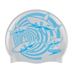Speedo SLOGAN PRINT CAP JUNIOR C599 chrome/bondi blue