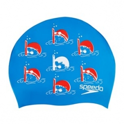 Speedo SLOGAN PRINT CAP JUNIOR C524 bondi/lava red/white