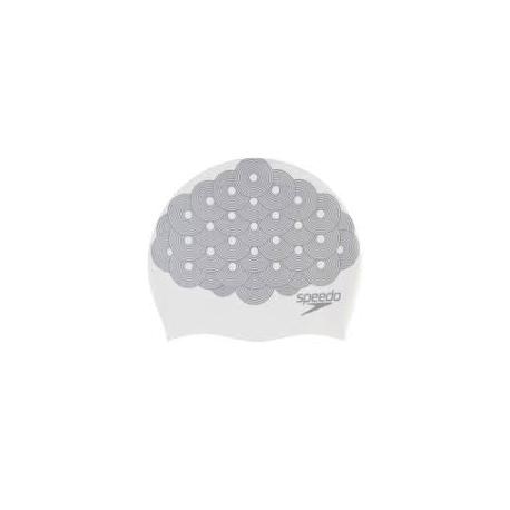 Speedo LONG HAIR CAP PRINTED D435 white/chrome
