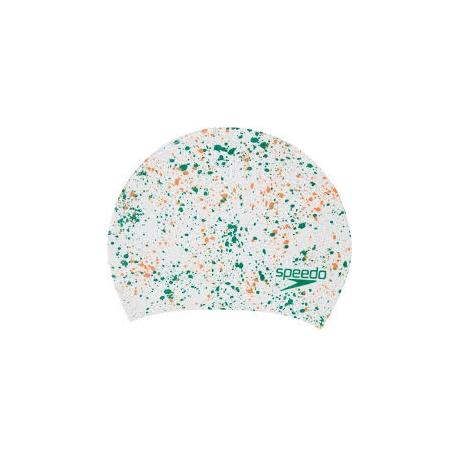 Speedo LONG HAIR CAP PRINTED F468 white/mango/jade