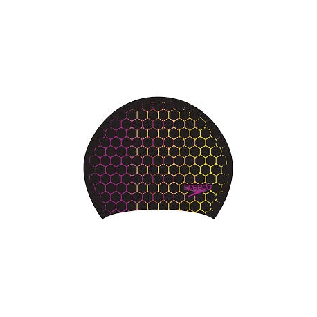 Speedo LONG HAIR CAP PRINTED F295 navy/fluo yellow/diva